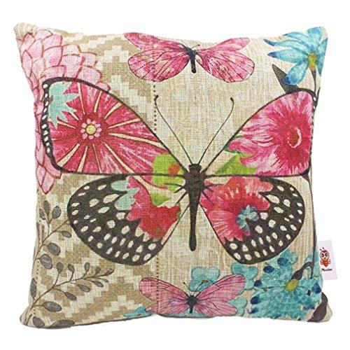 Read eBook Nunubee Linen Cotton Butterfly Pillow Cushion Cover Throw Pillow Case Style 2 PDF