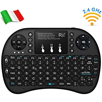 Rii Mini i8+ Wireless (Layout Italiano) - Mini Tastiera Retroilluminata con Mouse Touchpad per Smart TV, TV Box, Mini PC, Playstation, Xbox, Computer