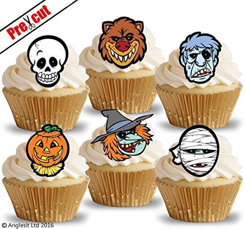 vorgeschnittenen Halloween Zeichen Faces i. essbarem Reispapier/Wafer Papier Cupcake Kuchen Topper Halloween Gothic Party Dekorationen (Halloween Cupcakes Mumie Kuchen)