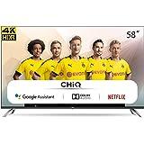 CHiQ Televisor Smart TV LED 58 Pulgadas, Android 9.0, Smart TV, UHD, 4K, WiFi, Bluetooth, Google Play Store, Google Assistant