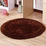 FIOFE/Tappeto circolare europeo, soggiorno camera da letto cestino cestello comodino, poltrona girevole computer sedia tappeto stanza (Colore : Marrone)