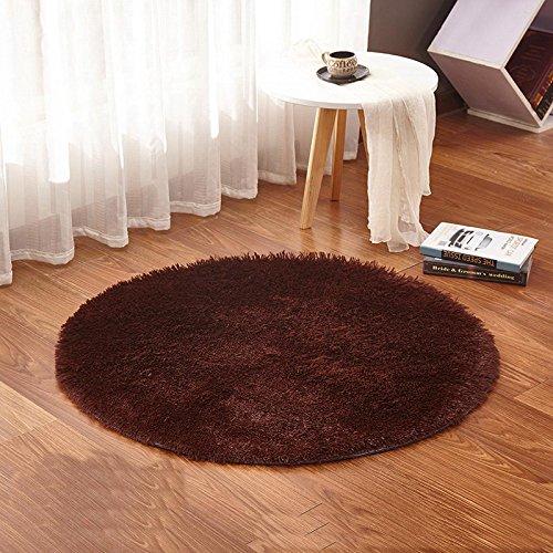 Grenss beige tappeto rotondo tappeti yoga caldo e confortevole soggiorno di lavaggio kilim camera con fodera in pelliccia sintetica moquette camera per bambini tappeti morbidi e soffici,marrone,diametro 120 cm