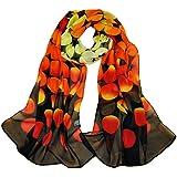 KAVINGKALY Sciarpa floreale in chiffon Sciarpe floreali da donna Stampato sciarpa in chiffon Sciarpe a pois Sciarpa lunga