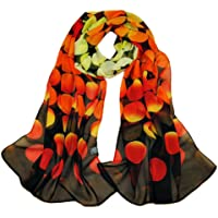 KAVINGKALY Sciarpa floreale in chiffon Sciarpe floreali da donna Stampato sciarpa in chiffon Sciarpe a pois Sciarpa…