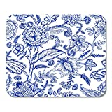 Mouse Pads Ornamental Indigo with Fantasy Flowers Natural Floral Curl Paisley Block Batik Mouse Pad 7.08 (L)x 8.66 (W) inch for Notebooks,Desktop Computers Mouse Mats, Office Supplies