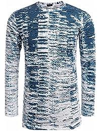 COOFANDY Men's O-Neck Long Sleeve Tie Dye Hip Hop Ripped-holes T-Shirt