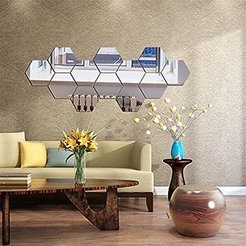 12 PCS//SET DE NICE 3D Miroir Géométrique Hexagone Acrylique Mur Autocollant Décor Art À faire soi-même