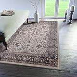 Traditioneller Klassischer Teppich für Ihre Wohnzimmer - Creme Grau - Perser Orientalisches Keshan Nein Ziegler Muster - Top Qualität Pflegeleicht