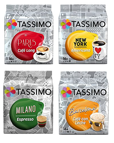Find Tassimo Cities Mega 4 Pack Milano, Paris, New York, Barcelona 64 T Discs/ Drinks. One of Each Flavour by Tassimo