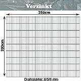 Gittermatte Doppelstabmatte Verzinkt/Höhen 83cm - 203cm x Breite 250cm/Drahtstärke 6/5/6mm/Maschenweite 50 x 200mm/Wählen Sie die Größe (Verzinkt, 203cm)