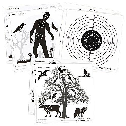 150x Anglo Arms 50je 140x 140mm Papier Zielscheiben Set in Zombies Tiere und Ringe
