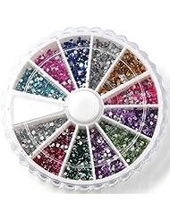 SODIAL(R) Boite de petit strass decoration ongles gel tip glitter rond 12 couleur manucure