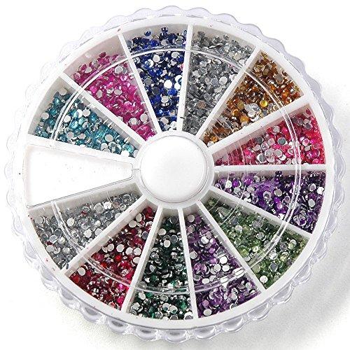 TOOGOO(R) Boite de petit strass decoration ongles gel tip glitter rond 12 couleur manucure