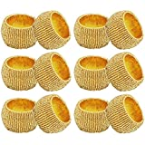 """Pack of 12 - Decorative Round Glass Beaded Textured Napkin Ring Tissue Holder Gifts Idea For Party - 2.5"""""""