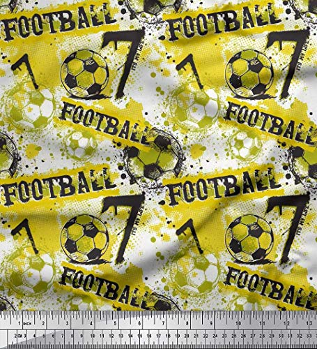 Soimoi Gelb Samt Stoff Pinselstrich und Fußball Männer gedruckt Craft Fabric 1 Meter 58 Zoll breit