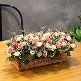 DSPOPEN68 Kunstblumen Künstliche Blumen Geschenke Hochzeit Party Küche Hauptdekorationen Holzzaun Diy Holz Zaun Topf Weiß Rosa-26