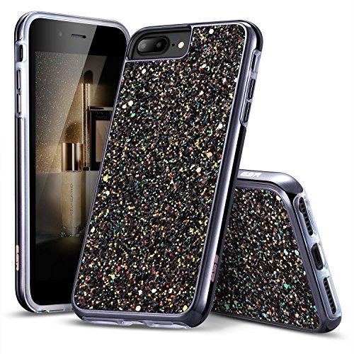ESR iPhone 7 Plus, iPhone 6 Plus / 6S Plus Hülle, Bling Glitter Sparkly Diamond Case mit Dual Layer Design [Hard PC Back, Soft TPU Inner] Schutzhülle für Apple iPhone 7P, iPhone 6P/ 6SP (Schwarz)