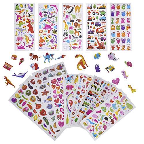 3D Verschiedene Puffy Stickerbögen- 3D Puffy Aufkleber Sticker für Kinder Kleinkind Stickeralbum Mädchen Jungen Kindergeburtstag Kinderzimmer Tier Dinosaurier Geschwollen Sticker Aufkleber Set,1500+