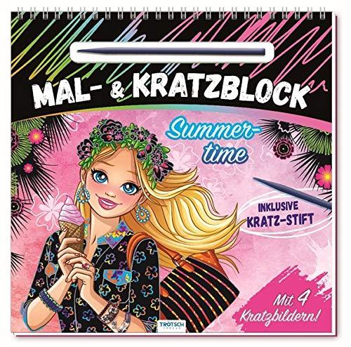"""Mal- und Kratzblock """"Summertime"""": mit 4 Kratzbildern und Kratzstift (Topmodels & Fashion, Band 1)"""