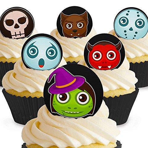 Cakeshop 12 x Vorgeschnittene und Essbare Gruselige Monster Halloween Kuchen Topper (Tortenaufleger, Bedruckte Oblaten, Oblatenaufleger)