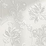 Carta da parati del tessuto non tessuto protezione ambientale 3D Carta da parati di rilievo di carta da parati selvaggia europea (Color : Creamy-white)