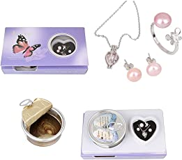 RaajaOutlets Metal Wish Love Pearl in Oyster Pendant Necklace with Earrings for Girls (Silver)