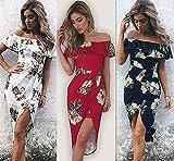 GAOLIM Off-Shoulder Lotusblatt Unregelmäßige Kleid Damen 5669, L, Rot
