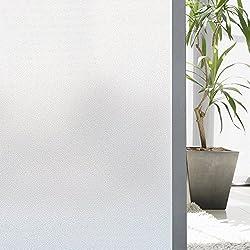 Zindoo Film Fenetre Stickers Anti UV Fenetre Film Opaque Vitre Film Depoli Vitre Film Occultant Vitre Film Electrostatique Vitre Effet Verre Mate pour Bureau Maison Salle de Bain 44.5x200CM