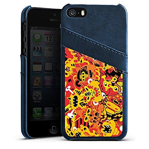 Apple iPhone 5s Housse Étui Protection Coque Imagination Bande dessinée Style bande dessinée Étui en cuir bleu marine