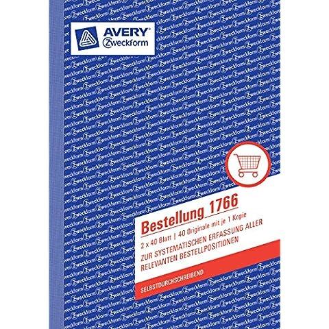 Avery Zweckform 1766ordinazione (A5Carta copiativa, 2x 40fogli) bianco/giallo - Autocopiante Fattura Libro