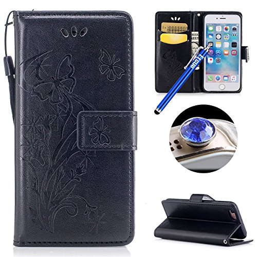 Etsue Schmetterling Schutzhülle Handytasche für iPhone 6s Plus/iPhone 6 Plus Lederhülle Flip Tasche Case Leder Flip Hülle, iPhone 6s Plus/iPhone 6 Plus Muster Butterfly Blumen Luxus Vintage Handyhülle Schmetterling,schwarz