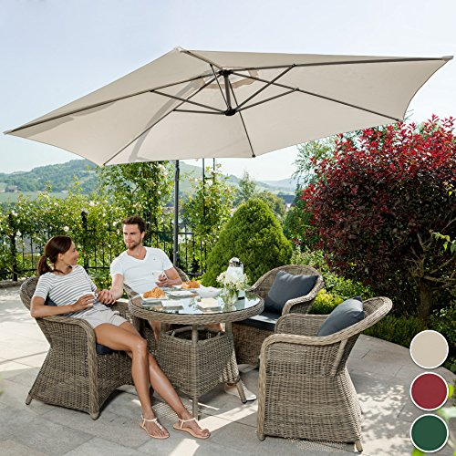 TecTake garden cantilever parasol + uv protection 3.5 m diameter with protective cover (Beige)