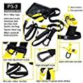 DLINK pro 3-3 Suspension Trainer Kit,Door Anchor,Training Straps Military Yoga Fitness Resistance Home Workout or Outdoors -Suitable for Men or Women