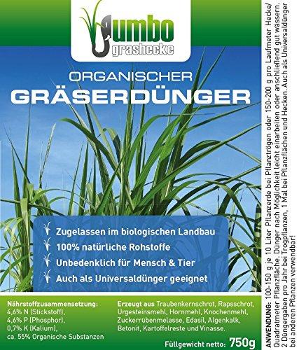 Jumbogras® Gräserdünger mit Langzeit-Wirkung, 100 {dce20e4ea97943d471750c79f9871f91761997f42cc095063a1caf4ed700645c} Organischer Ökodünger für alle Ziergräser, Gräser-Beete und Gras-Pflanzungen (Gräserdünger organisch, 750 g)