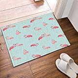 Nyngei Papier peint décor oiseaux avec tapis de bain rose flamant rose Tapis de sol antidérapant porte d'entrée intérieure extérieure Tapis de bain 60X40CM tapis de bain