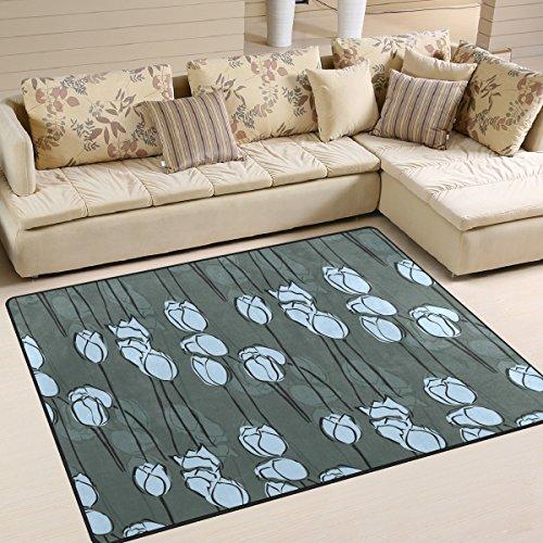 yibaihe Aqua Blau und Weiß Floral bedruckt Große Fläche Teppiche, leicht rutschfeste antistatisch wasserabweisend Boden Teppich für Wohnzimmer Schlafzimmer Home Deck Terrasse, 160x 122cm (5'7,6cm X 4'), 100 % Polyester, multi, 160 x 122 cm (5'3