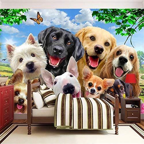 Sucsaistat Tapeten Wandbild 3D Tapete niedlichen Rasen Hund Tier Foto Wandbild Kind Kinder Schlafzimmer Hintergrund Wand Dekoration, 300 * 210cm