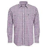 Almsach Trachtenhemd Ferdl Regular Fit Zweifarbig in Lila und Blau inkl. Volksfestfinder, Größe:XL, Farbe:Mehrfarbig