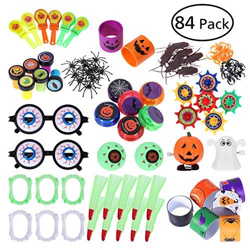 TOYMYTOY Halloween Neuheit Spielzeug Sortiment - Kleines Spielzeug mit 14 Arten, Karneval Geburtstag Kinder Party Gefallen, Süßes Oder Saures Goodie Taschen (84 Pack)
