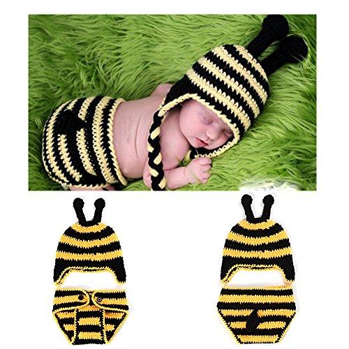 Tbslee Baby Fotografie Requisiten Junge Mädchen Foto Shooting Outfits Neugeborenes Baby Kostüm Infant Gestrickte Kleidung Bee Hut Shorts (Baby Bee Kostüme)