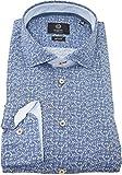 Bugatti Hemd modernfit blau gemustertes Hemd Langarm Kent Kragen ohne Tasche Size M