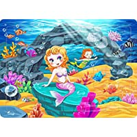 Yobooom Wood Jigsaw Puzzles 60 Pieces for Kids Ages 4-8 (the Mermaid)
