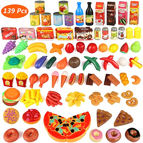 Estela Cocina Juguete, 139Piezas Plástico Comer Frutas Verduras ebensmittel pädago gisches Aprendizaje Set de Cocina Play Niños Rollo Juegos Juguete, Food