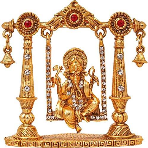 Ratnatraya Ganesha on Jhula(Swing) Small Brass Idol Showpiece Height - 7cm | Swinging Ganesh Zula Home Table Decor/Car Dashboard and Gift  available at amazon for Rs.499