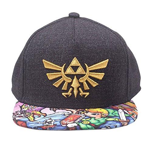 Zelda Nintendo Legend of Embroidered Gold Royal Crest Snapback Baseball Cap  with Woods Boys Brim 367bdaf942a