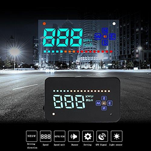 XCSOURCE A2 Car HUD Proyector de parabrisas Head Up Display Directon GPS KM \ H MPH Alarma de sobrevelocidad de sobrevelocidad MA1215