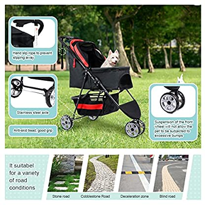 Pet Travel Stroller Three Wheels Cat Dog Pushchair Trolley,Puppy Carrier,Shockproof,Single Front Wheel 360° Rotation… 4