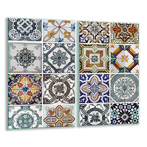QTA | Herdabdeckplatten Set 2x30x52 cm Ceranfeld Abdeckung Glas Spritzschutz Abdeckplatte Glasplatte Herd Ceranfeldabdeckung Mosaik