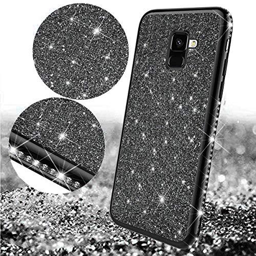 Uposao Kompatibel mit Samsung Galaxy A8 2018 Handyhülle Glänzend Glitzer Kristall Strass Diamant Handytasche Überzug Silikon Schutzhülle Tasche Durchsichtige Hülle Backcover Case,Schwarz