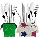 2 ensembles (11 pcs) de couverts,FineGood pailles de baguettes de cuillère de fourchette de couteau d'acier inoxydable,avec v